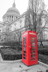 Red Phone Box (Colonel Bogey) Tags: red blackandwhite white black london saint phone cathedral box pauls stpaulscathedral
