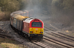 """DB Class 67 no 67015  at Clay Cross (Tupton) on 10-04-2016 with the return leg of the """"Maybach Yorky"""" Charter from York to Derby (kevaruka) Tags: bridge england people sun color colour heritage history colors sunshine station yellow composition train canon eos flickr day colours tour diesel outdoor derbyshire traction rail railway sunny trains front class historic retro telephoto page western april 5d british locomotive network yorky chesterfield charter 52 hydraulic maybach the 400mm mk3 2016 d1015 tapton ef100400 f4556l claycross tupton 5d3 5diii thephotographyblog 10042016"""