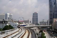 Thailand - Bangkok - Skytrain trial run (railasia) Tags: thailand bangkok siemens infra nineties bts thirdrail trialrun chongnonsi emu3 silomline elevatedstructure metrosubwayunderground routen2