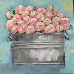 Bucket of Pink Roses (Art by Trish Jones (theOldPostRoad)) Tags: life pink roses flower art floral by painting tin jones bucket still day trish gray mothers southern gift bridesmaid bouquet