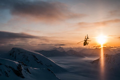 Sunset flight (Last Frontier Heliskiing) Tags: canada ski clouds flying skiing bc britishcolumbia flight columbia glacier helicopter alpine british heli eurocopter astar northernbc heliski heliskiing heliboarding helicopterskiing heliboard lastfrontierheliskiing