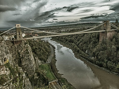 Clifton Suspension Bridge (RS400) Tags: uk bridge sea sky west history water clouds wow wonderful bristol amazing cool south olympus wicked land hdr edit