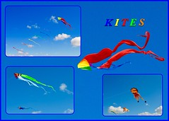 Kites (rustyruth1959) Tags: blue sky collage clouds liverpool nikon colours bright kites promenade colourful kiteflying merseyside otterspool nikond3200 photoborder