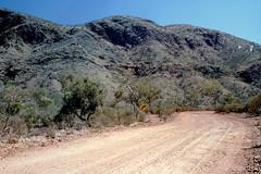 DSC2515 (Stefan Ulrich Fischer) Tags: street travel abandoned 35mm landscape nationalpark desert outdoor oz streetsign australia slide scanned outback analogue southaustralia downunder flindersranges kodakektachrome minoltaxd7