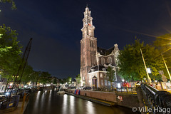 Westerkerk (villeah) Tags: netherlands amsterdam architecture evening canal thenetherlands nl attraction westerkerk northholland lightreflections