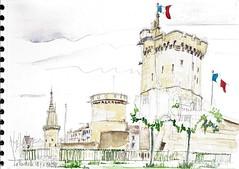 La Rochelle, l'entrée du Vieux Port (Croctoo) Tags: watercolor aquarelle larochelle tours croquis charentemaritime croctoo croctoofr