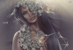 Carley~She's Magic -muted (Skip Staheli (Clientlist closed)) Tags: flowers birds model dragonflies avatar sl digitalpainting fantasy secondlife dreamy virtualworld skipstaheli carleybenazzi