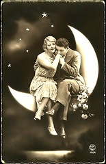 Vintage Couple on the Moon (megforce1) Tags: woman moon vintage stars hugging couple sitting dancing valentine romance valentines romantic