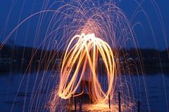 Fountain (nibrjosa) Tags: wool night fire long exposure steel spinning
