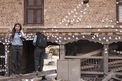 Art Show Selfie (David L. Merin) Tags: nepal kathmandu art show selfie girl school butterfly paper installation wood temple carving brick