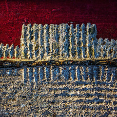 hulls (MyArtistSoul) Tags: red urban abstract texture square concrete paint pattern debris minimal groove s100 trowel 9068