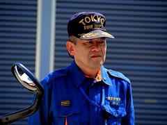 Tokyo Fire Chief (MarkRosauer) Tags: fireman firefighter firedepartment firechief earlymorninglight bluejumpsuit blueuniform tokyofiredepartment