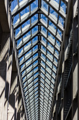 The Gallery Hall (Royal Canadian) Tags: blue sky ontario canada building art glass architecture concrete hall gallery steel ottawa structure nationalgallery hallway bones spine