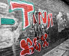 Durham Graffiti (dommylive) Tags: graffiti adobephotoshop monotone durhamcity selectivecolour countydurham northeastengland