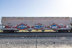 VISAH . RAGUE (TRUE 2 DEATH) Tags: railroad train graffiti tag graf trains h2o railcar boxcar railways hopper railfan freight mul freighttrain rollingstock rague benching freighttraingraffiti visah