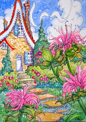 Bring on the Bee Balm Weather SBC (cottagelover1953) Tags: flowers house home garden watercolor originalpainting cottage retro beebalm deco storybookcottageseries