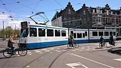 Trams op Koningsdag 14 (Peter ( phonepics only) Eijkman) Tags: city holland netherlands amsterdam transport nederland tram rail bn rails trams strassenbahn noordholland gvb tramtracks streetcars nederlandse trapkar