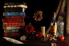Still Life for Robert Burns (Studio d'Xavier) Tags: stilllife rose thistle ivory books scotch robertburns scrimshaw strobist werehere theworldofrobertburns nohaggis