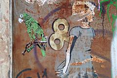 Iguaca (ezbai) Tags: barcelona green bird birds stencil bcn sparrow pajaros pajaro stencilart loro cotorra amazona perroquet pochoir ezbai