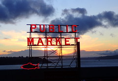 Sunset at Pike's (incidencematrix) Tags: seattle sunset sign night washington neon market pikes