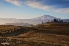 Winter in Val D'Orcia (AleshaOleg) Tags: morning travel trees light sky italy mountains tree green clouds farmhouse sunrise canon t countryside hills val tuscany cypress siena pienza toscana salerno amiata dorcia agrippino