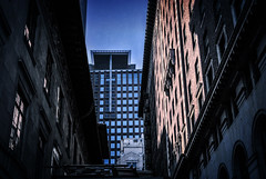 Visible (Carrie McGann) Tags: texture sunshine architecture losangeles interesting nikon shadows dtla hiltoncheckers millenniumbiltmore myowntexture 041915 pacmutualbuilding