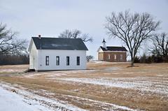 Church & School (Rural Roads Photography) Tags: school winter snow abandoned church buildings nikon historic forgotten restored kansas arvonia d7000