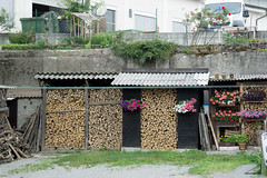 Wood ready to fire (agu!) Tags: wood flowers flores pots slovenia lugares shack slovenija eslovenia macetas lea cobertizo zagorjeobsavi