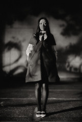 the Long Kiss Goodnight : outtake 1 (TommyOshima) Tags: leica portrait blackandwhite film girl monochrome night model fujifilm noctilux iso1600 leicam7 2010 m7 superpresto1600 leicanoctilux50mmf10 kinakokocteau
