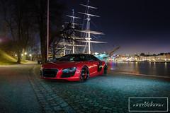 Audi R8 (AJ.S PHOTOGRAPHY) Tags: longexposure red cars apple boat candy sweden stockholm audi supercars r8 candyapplered audir8 skepsbron