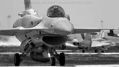F-16 In Black & White. (spencer.wilmot) Tags: blackandwhite monochrome plane turkey airplane fighter aircraft aviation jet f16 kya militaryaviation konya taxiway ntm tigermeet 4054 fightingfalcon airside polishairforce ltan