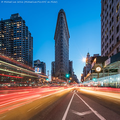 Blue Flatiron (DSC00440-Edit) (Michael.Lee.Pics.NYC) Tags: longexposure newyork night square twilight cityscape sony bluehour fifthavenue flatironbuilding lighttrail traffictrail fe1635mmf4 a7rm2