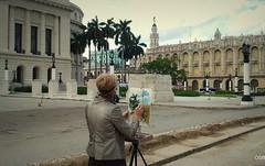 Pintando ngeles. (Olgui.SB) Tags: teatro avenida calle arquitectura cuba capitolio habana farolas pintura palmas