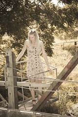 A bridged Leia, No.01 (Mike Wood Photography) Tags: bridge summer woman girl beautiful standing pretty dress blonde arr desaturated summertime summerdress allrightsreserved leia essenceofshe mikewoodphotography