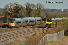 22017 and 221 pass at Stacumny Bridge, 15/2/16 (hurricanemk1c) Tags: irish train rail railway trains railways irishrail rok rotem countykildare 2016 icr iarnród 22000 22017 éireann iarnródéireann 4pce dublintocork stacummybridge 1105galwayheuston