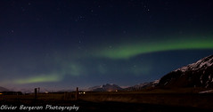 Aurora on Hofn country - iceland (funkytravel) Tags: blue winter sky mountain snow green night star iceland north east aurora nordic voile islande aurore northernlight
