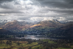 Latterbarrow (March 2016 #2) (Lazlo Woodbine) Tags: uk england cloud mountain snow mountains water march countryside nationalpark pentax cloudy britain lakes lakedistrict overcast hills brooding 1855mm nationaltrust hdr ambleside windermere thelakes britishcountryside thelakedistrict 2016 k7 photomatix latterbarrow luminancehdr