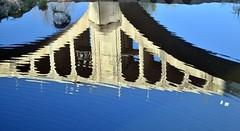 mirror (Artista_7591) Tags: bridge blue espaa water stone contrast river landscape mirror spain arquitectura nikon air style fresh espejo tamron gerona reflexes besal d5500