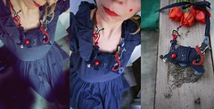 'Blue moon' ~ storytelling necklace~ (maslikarija) Tags: blue love design flying necklace handmade secret story dreams wearableart redhair bluemoon softsculpture artjewelry workinggirl personalstyle contemporaryjewellery starrysky dreamfairy textilenecklace