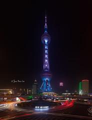 Shanghai's Signature (stuckinparadise) Tags: china light skyline cityscape shanghai pano trails landmark icon pudong pearltower huangpu stuckinparadise vertorama
