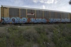 BOZO . KING157 . BUBZ . GETS (TRUE 2 DEATH) Tags: railroad train graffiti tag graf trains railcar etc boxcar h2 railways railfan freight gets bozo tmf tdk freighttrain king157 autorack rollingstock wcf rtm bubz benching freighttraingraffiti