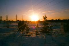 Sorrow (budd) Tags: winter sunset sky sun film colors bike analog forest 35mm outdoor dusk olympus buddy moto epic