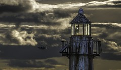 Burned Out (Pureo) Tags: sky lighthouse metal canon landscape scotland rust fife seagull stormy 6d burntisland canon70200f28isusm2