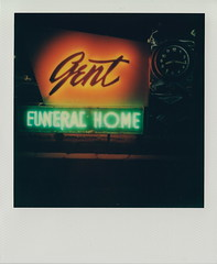 Gent Funeral Home (DavidVonk) Tags: film sign analog vintage polaroid neon funeral instant neonsign slr680 funeralhome mortuary impossibleproject