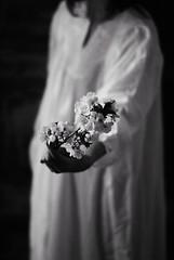 melancholic spring (chiara ...) Tags: flowers bw woman spring hand