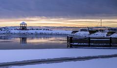 Canon 6D (Danny VB) Tags: winter sky canada cold reflection marina canon landscape fire eos boat early january québec gaspesie 6d observatoire gaspésie 2016 percé canon6d