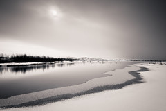 Lines (Edd Ward) Tags: park trees sky sun white black nature water monochrome canon reflections landscape photography iceland long exposure cloudy outdoor national 7d ingvellir