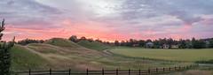 Gamla Uppsala Sunrise (i.love.uppsala.foto) Tags: morning pink church field grass clouds sunrise purple cloudy sweden norden uppsala nordic sverige scandinavia viking pinkclouds morgon uppland gamlauppsala hgar