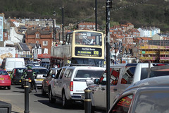 Seafront Bus in Seafront Traffic. (ManOfYorkshire) Tags: bus punto seaside spring traffic fiat district president citroen motorbike picasso toyota service biker scarborough van seafront heavy southbay landrover discovery corolla opentop ldv plaxton navara route109 maxus