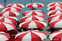 Beach Umbrellas - Amalfi Italy (WanderingPhotosPJB) Tags: red sea italy white beach umbrella seaside pattern redwhite amalfi beachumbrella